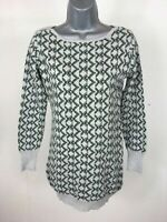 Women's Millenium Green Grey Thin Knit Long Jumper Tunic Top Size M/L