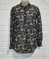 Miss Selfridge Size 6 Floral Long Sleeve Blouse - Multi-colour