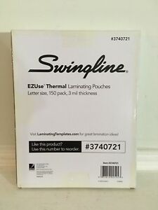 Swingline 3740721 EZUse Thermal Laminating Pouches, Letter Size, 3 Mil, 150 Pack