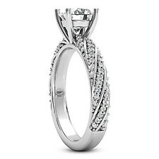 Solitaire Pave 1.29 Carat Certified Round Cut Diamond Engagement Ring White Gold