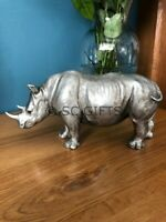 Rhino in Antique Silver Resin Sculpture Beautiful Home Decor New & Boxed 26cm