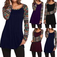 Women Retro Baggy Shirt Full Sleeve Printed Patchwork Blouse Tops Nice T Shirt