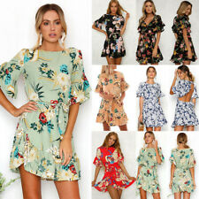 UK Boho Womens Ruffle Short Sleeve Floral Ladies Summer Beach Party Mini Dresses