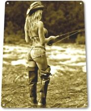 Open Fly Pinup Girl Sexy Cowgirl Fishing Man Cave Wall Art Decor Metal Tin Sign