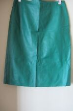 Tara Jarmon green lamb leather skirt, size AUS 10-12, new, RRP $800