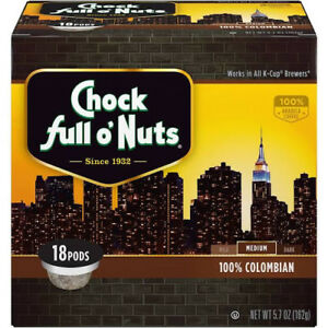 Chock Full O' Nuts 100% Colombian Coffee 18 to 144 Keurig K cups Pick Any Size