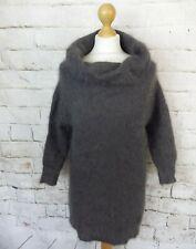 Vintage grey super soft 100% angora roll neck jumper sweater S 10 fluffy hairy