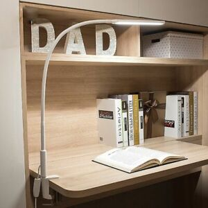 Long Arm Table Lamp Flexible Gooseneck Touch Clip On Dimming Desk Room LED Lamps