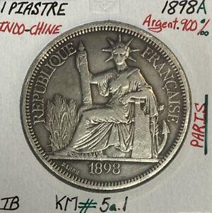 INDOCHINE FRANCAISE - 1 PIASTRE DE COMMERCE 1898 A - Monnaie en Argent // TB