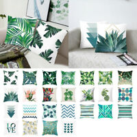 Soft Tropical Plant Green Leaves Pillow Case Cushion Cover Car Home Sofa Decor