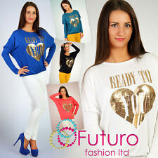 Sexy Blouse with Gold Logo Long Sleeve Blouse Top Batwing Size 10-14 6038