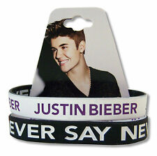 Justin Bieber Never Say Never 2 Pk B&W Reversible Silicone Wristbands New NWT