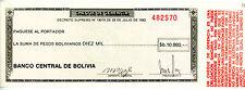 BOLIVIA ... P-173a ... 10.000 Pesos Bolivianos ... 1982 ... *UNC*