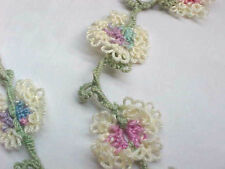 """DOVE COUNTRY Tatted Necklace 16 Tatted Flowers Vine Leafs Beads 26"""" Tatting"""