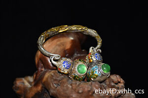 """3.6"""" Chinese old Cupronickel Inlaid jade outline in gold Gourd Bracelet"""