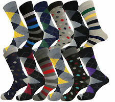 12 Pk POLKA DOTS  DIAMOND ARGYLE & stripe COTTON CASUAL DRESS SOCKS SIZE 10-13