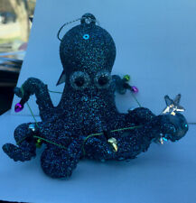 Cozumel Reef Blue Octopus Christmas Holiday Ornament Resin