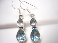 Faceted Blue Topaz Double Gem Teardrop 925 Sterling Silver Dangle Earrings