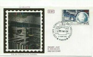 Envelope CEF 1er Jour On Silk France the Villette & Of Sciences 1986