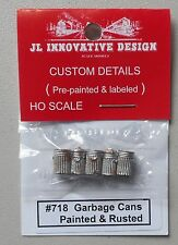 GARBAGE TRASH PAINTED RUSTED CANS HO 1:87 SCALE LAYOUT DIORAMA JL INNOVATIVE 718