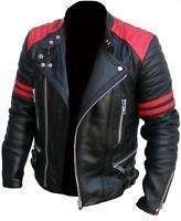 CLASSIC DESIGN BRANDO RED & BLACK MEN'S MOTORCYCLE BIKER GENUINE LEATHER JACKET