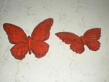 2 vintage wall decor butterfly butterflies orange plastic 1967 Retro Syroco