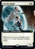 MTG Worthy Knight EXTENDED ART Throne of Eldraine RARE NM/M SKU#302