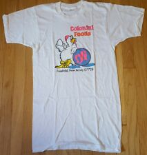 Deadstock vintage 80s Colonial Foods shirt L white chicken logo long tall NOS NJ
