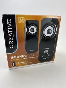 Creative Inspire T12 2.0 Multimedia Speaker System w/Bass Flex Technology New OB