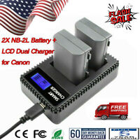 2x NB-2L Li-ion Battery + LCD Dual Charger for Canon PowerShot G7 G9 S30 S40 US