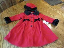 Sophie Rose Toddler Girl Red Fleece Coat & Hat Set Size 2T NWT $60
