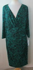 RALPH LAUREN Womens Plus Size Dress, Size 14w, Faux Wrap V Neck, Floral, Stretch