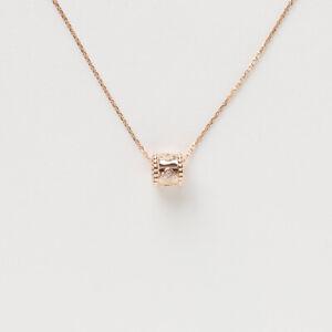 Van Cleef & Arpels Perleee Clover Rose Gold Round Diamond Pendant Necklace