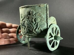 RARE ANCIENT ROMAN BRONZE PERIOD CHARIOT STATUE WITH HIGH DETAILING - 200-400 AD