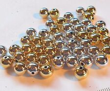 Acrylic Silver & Gold UV Plated Round Beads 8mm Package of 50