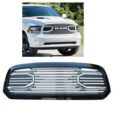 For 13-18 Ram 1500 Big Horn Style Front Bumper Grille Painted Glossy Black Frame