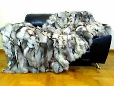 Luxury Real Blue Frost Fox Throw Blanket