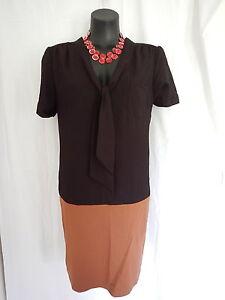 SIZE 14 SMART FLATTERING BLACK BROWN PUSSY BOW DETAIL SHIRT DRESS - JACQUI-E