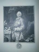 Planche gravure Portrait comte de Brühl  ministre d'Auguste III Roi de Pologne