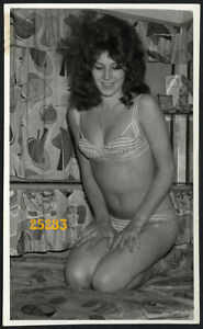 pretty girl w long hair smiling on bed, Vintage fine art Photograph, 1960'