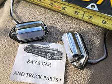 NEW PAIR UNIVERSAL CHROME METAL LICENSE PLATE LIGHTS ! CARS / TRUCKS / TRAILERS