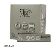 Genuine OCB SILVER X-PERT Slim Fit King Size Rolling Papers 50 Booklets FULL BOX