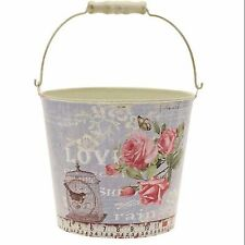 Metal Pail vintage design distressed style flower floristry container rustic Tin