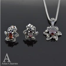 925 Sterling Silver Earrings Garnet Pendant Necklace Sets valentines day gifts