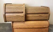 Vintage Mid Century Danish Modern Teak Thai Wood Roll Top Desk Organizer Storage