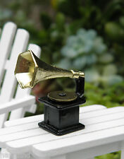 Miniature Dollhouse FAIRY GARDEN ~ Old Fashioned Phonograph Record Player