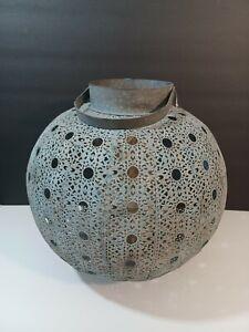"Handmade antique wash  Metal Lantern From India 15"" X 14"""