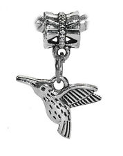 Hummingbird Songbird Birder Bird Dangle Bead fits Silver European Charm Bracelet