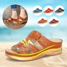 Sandalias De Cuero Cómodas Para Mujer Zapatos De Verano Tacón Bajo De Cuña Retro