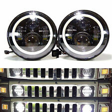 2Pcs 7inch LED Round Headlight H4 H13 DRL 120W Total Hi/Lo Beam For Hummer H1 H2